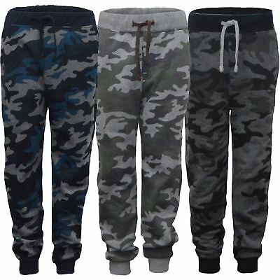 Kids Camo Print Tracksuit Trousers Girls Boys Jogging Bottoms Sweatpants 3-14 Y