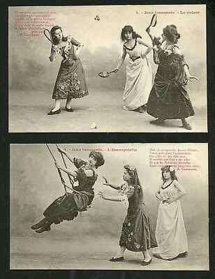 French GIRLS Playing Games 10 Card SERIES Turn-Of-The-Century 1900 PARIS Latest!