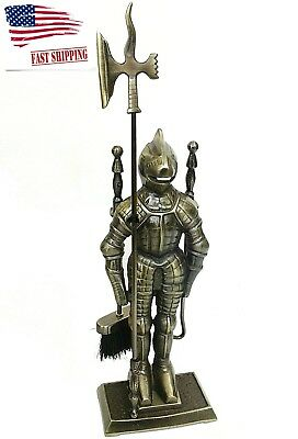Middle Ages Knight Cast Iron Figure Fireplace Tool Set Antique Brass Pokers Sets