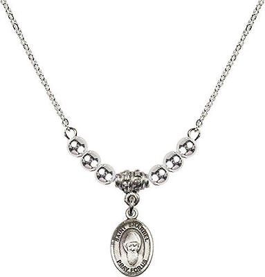 Bonyak Jewelry 18 Inch Rhodium Plated Necklace w// 4mm Blue March Birth Month Stone Beads and Saint Sharbel Charm