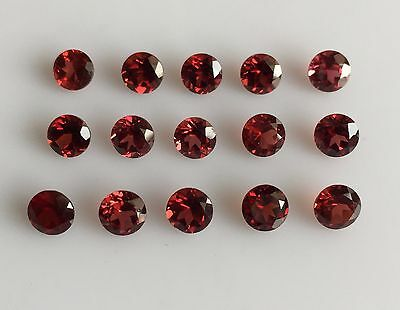 10.18 Ct 15Pc Natural Red Garnet Loose Gemstone Round Faceted Cut Mozambique 5Mm
