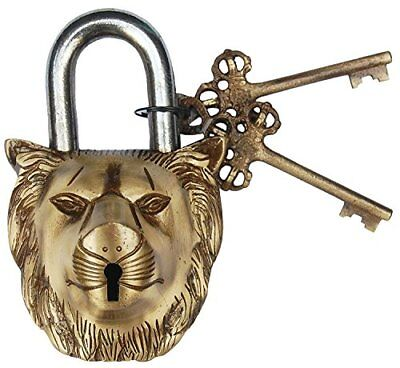ANTIQUE Style LION Type Padlock - Lock with Key - Brass Made (5044)