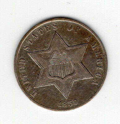 "1859 3 cent silver piece ""trime"" - free shipping - three cent coin"