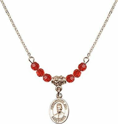Gold Plated Necklace with Ruby Birthstone Beads & Blessed Miguel Pro Charm.