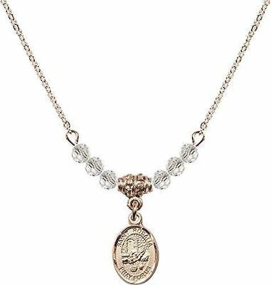 Gold Plated Necklace with Crystal Birthstone Beads & Saint Rosalia Charm.