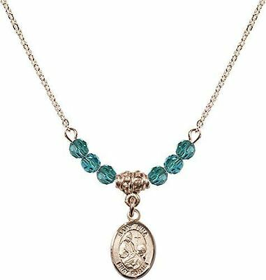 Gold Plated Necklace with Zircon Birthstone Beads & Saint Fina Charm.