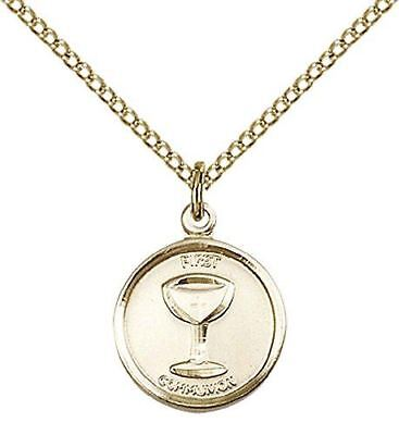 """14kt Gold Filled Communion Pendant with 18"""" Gold Filled Lite Curb Chain."""