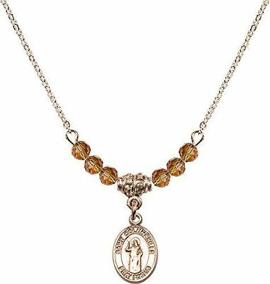 Gold Plated Necklace with Topaz Birthstone Beads & Saint Columbkille Charm.