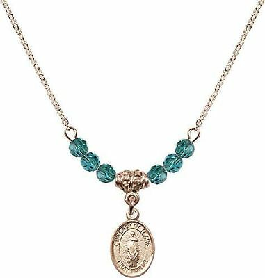 Gold Plated Necklace with Zircon Birthstone Beads & Our Lady of Tears Charm.
