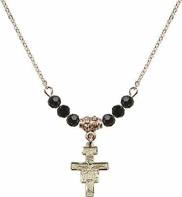 Gold Plated Necklace with Jet Birthstone Beads & San Damiano Crucifix Charm.