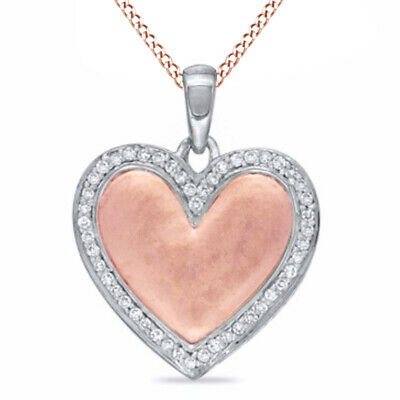 "1/4 CT Natural Diamond Frame Heart Pendant Silver 14K Rose Gold Over 18"" Chain"