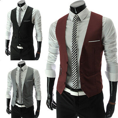 Mens Waistcoat Formal Business Suit Retro Vest Slim Wedding Casual Coat Tops UK