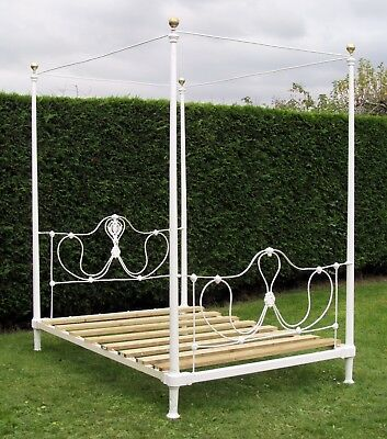 Pretty French Brass and iron Standard Double Four Poster Bed with Pine Base