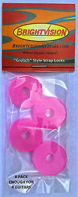 Eight TRANSLUCENT PINK Silicone Rubber Guitar Strap Locks- Classic and Reliable