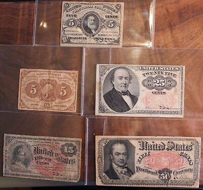 1863 Fractional Currency Lot Of 5 Notes US 15 Cent 25 Cent 50 Cent 5 Cent Mixed