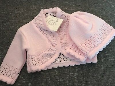dandelion pink cardigan and hat set 0-3 months new with tags