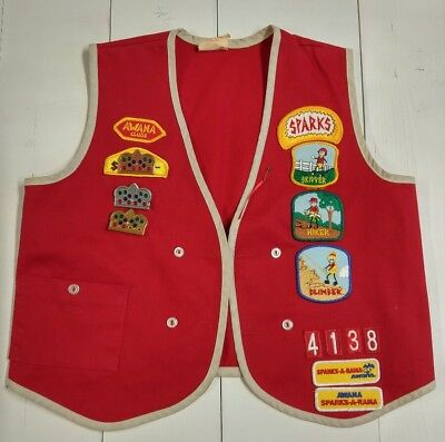 Vintage AWANA CLUBS Vest with PATCHES and Awards XL Red Sparks 4138