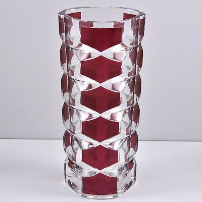 Vintage French Art Glass Art Deco Style Vase Magenta Ruby Clear Modern Geometric