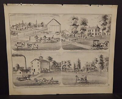 Illinois Adams County Map Farmers Mills Engravings 1872 K18#81