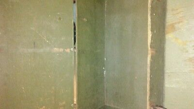 Vintage US Military Foot Locker Trunk Wood Green Plywood