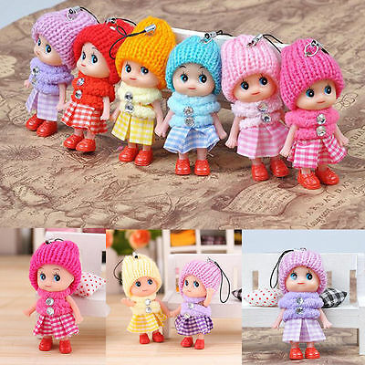 2x Soft Baby Dolls Expression Interactive Mini Doll Cell Phone Keychain Toy TO