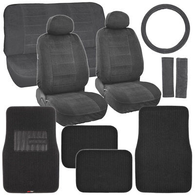 New Vintage Car Seat Covers in Black w/ Premium Carpet Auto Floor Mats