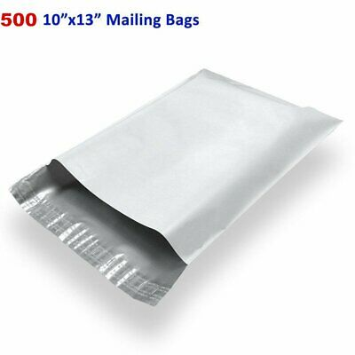 500 10x13 White Poly Mailers Shipping Bags Self Sealing Plastic Envelopes 2.5Mil