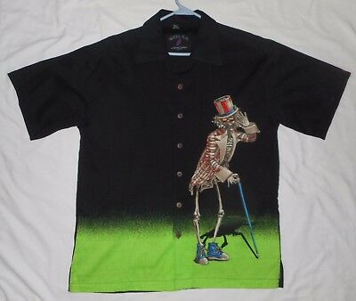 Grateful Dead Button Up David Carey L LARGE Shirt Uncle Sam Movie Skeleton