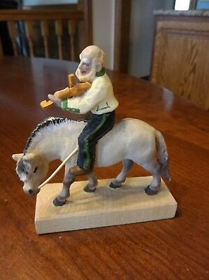 Norwegian  HENNING HORSE + RIDER PLAYING VIOLIN SIGNED - WOOD CARVING - Norway
