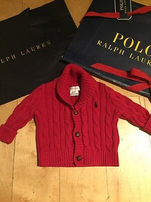 Ralph Lauren Designer Baby Girls Boys Red Cable Knit Cardigan Jumper Logo 3-6m