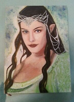 Stunning Lord Of The Rings Arwen Mini Painting Sketch Art Trading Card Psc Aceo