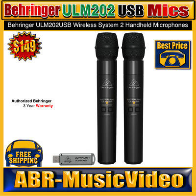 (2) Behringer ULM202USB Wireless Microphones