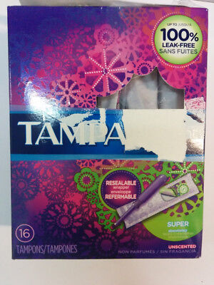Tampax Radiant Plastic Unscented Tampons, Super Absorbency, 13 Tampons -Open Box
