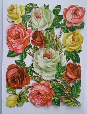 Large embossed Victorian Scrap of Roses Approx 15×11&1/2cms.