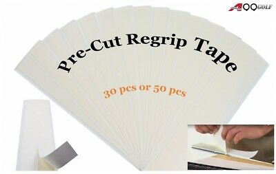 """A99Golf 2""""x8.5"""" Pre-Cut Double Sided White Regrip Grip Tape 50pcs for Clubs"""