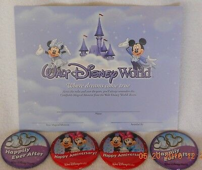 Disney 2 Retired Happy Anniversary Buttons & 2 Happily Ever After & Certificate