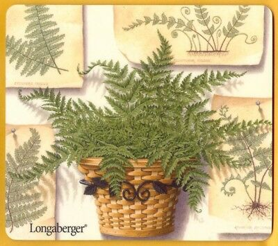 Longaberger Basket with Fern and Fern Prints Computer Mouse Pad New last one HTF