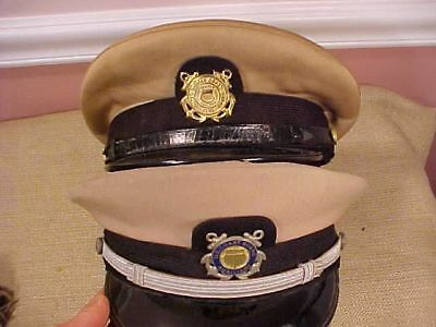 Original Vintage Pair Of Uscg Us Coast Guard Visor Caps
