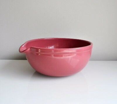 FOWLER WARE Pottery Large Plum Mixing Bowl with Pouring Lip Vintage