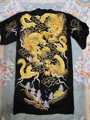 Antique Japanese Handmade Embroidered Silk Gilt Gold Dragons Robe