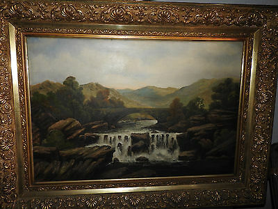 large, early 19th century gilt framed oil painting on canvas signed by F.Walters