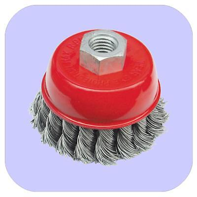 """2 X  75mm (3"""") TWIST KNOT CUP WIRE BRUSH FOR STEEL GRINDER M14*2."""
