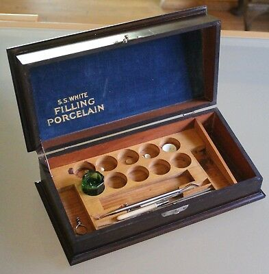 Antique Victorian S.S. White Filling Porcelain Dental Tool Set in Rosewood Box