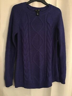 H&M Mama Maternity Blue knitted jumper - lovely detail! Size M - Exc Cond