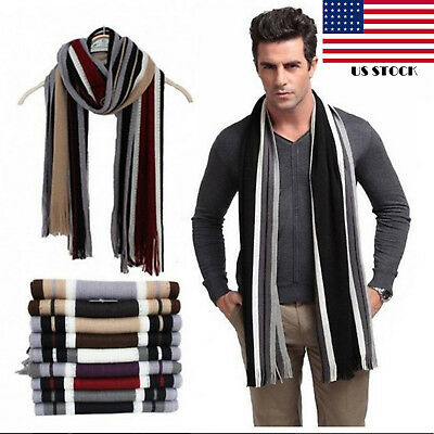 Men Classic Scarf Shawl Winter Warm Long Fringe Striped Tassel Wrap USA Seller T