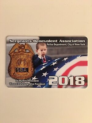 Authentic 2018 Nypd Sba Card. Collectible.