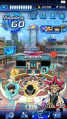 Yu-Gi-Oh! Duel Links Account Stage 60, 65 UR, 176 SR, 12 characters lvl 30+