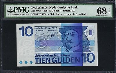 Netherlands 1968 P-91b PMG Superb Gem UNC 68 EPQ 10 Gulden