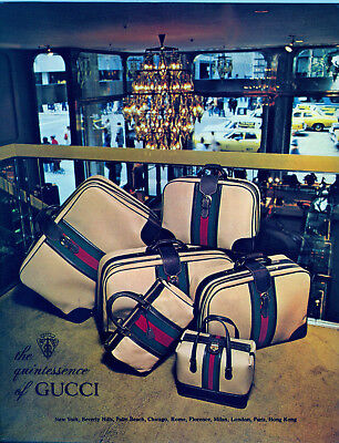 Vintage 1977 Gucci Luggage ORIGINAL Ad Showcased in a Big-City Shop Window