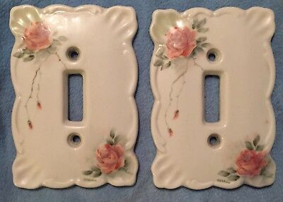 2 Vintage Porcelain Light Switch Covers Pink Roses Hand Painted Signed